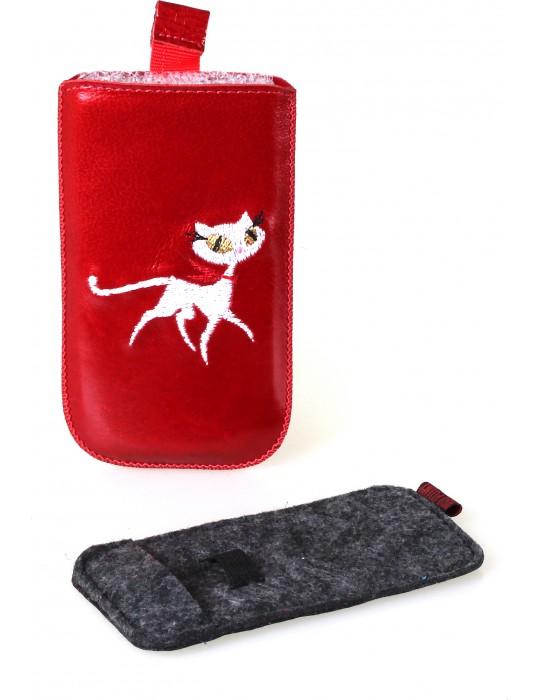 Чехол для ножниц/кусачек RedPoint Prime Кошка Красный Кожа(для 1предмет 114х60мм)